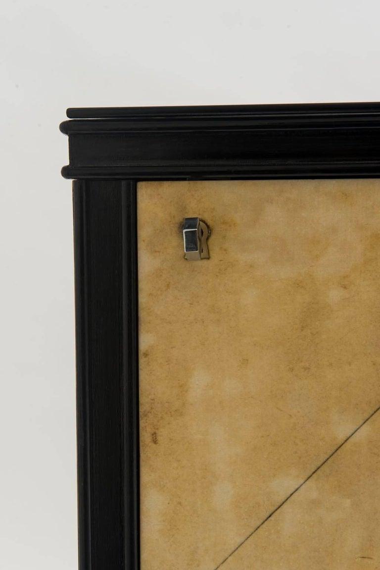 Bronze Italian Art Deco Lacquered Goatskin Credenza by Vittorio Dassi For Sale