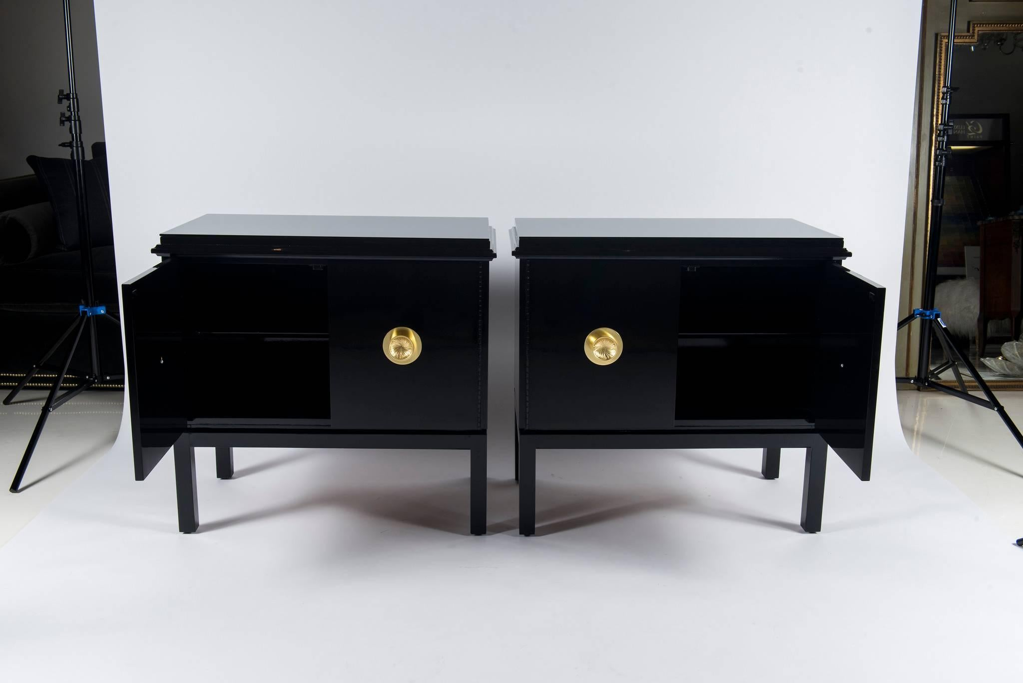 A Chic Pair Of Vintage James Mont Style Cabinets With New Black Lacquer  Pain, Lisa