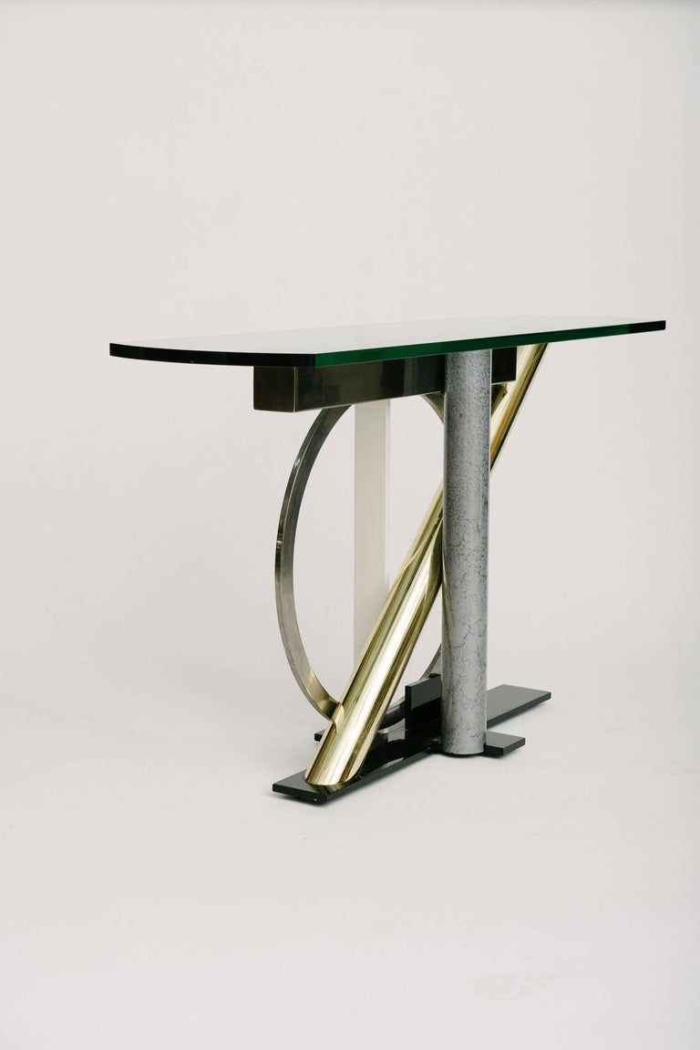 Vintage Geometric Console Table by Kaizo Oto In Good Condition For Sale In Houston, TX