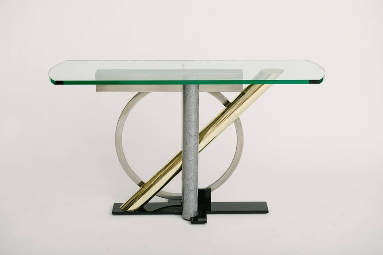 Mid-Century Modern Vintage Geometric Console Table by Kaizo Oto For Sale