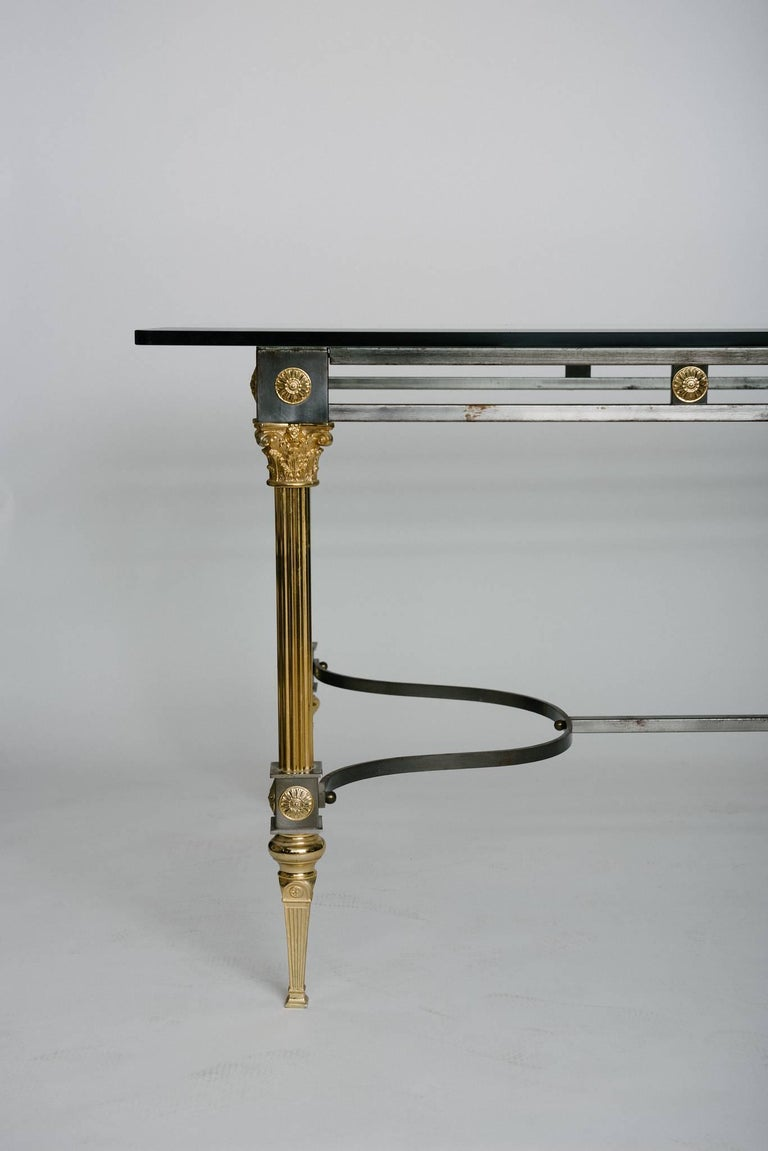 Neoclassical Maison Jansen Attributed Steel and Brass Dining Table For Sale