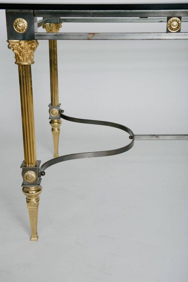 Maison Jansen Attributed Steel and Brass Dining Table For Sale 2