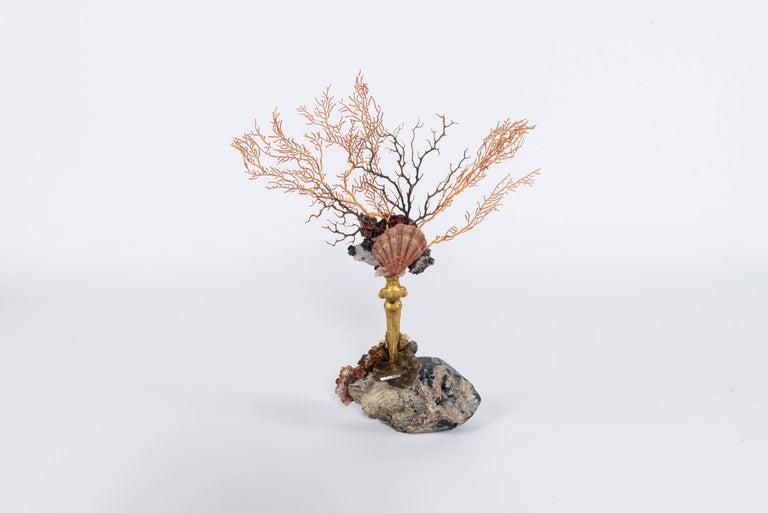 French Calypso Coral Sea Fan Quartz Caryatid Sculpture For Sale