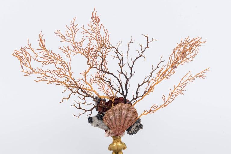 Bronze Calypso Coral Sea Fan Quartz Caryatid Sculpture For Sale