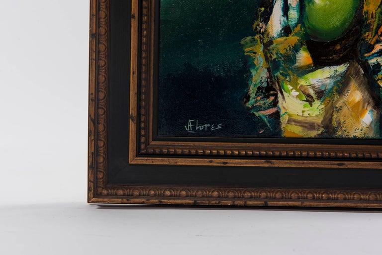 Modern Figurative Oil Painting, Signed J. Flores For Sale