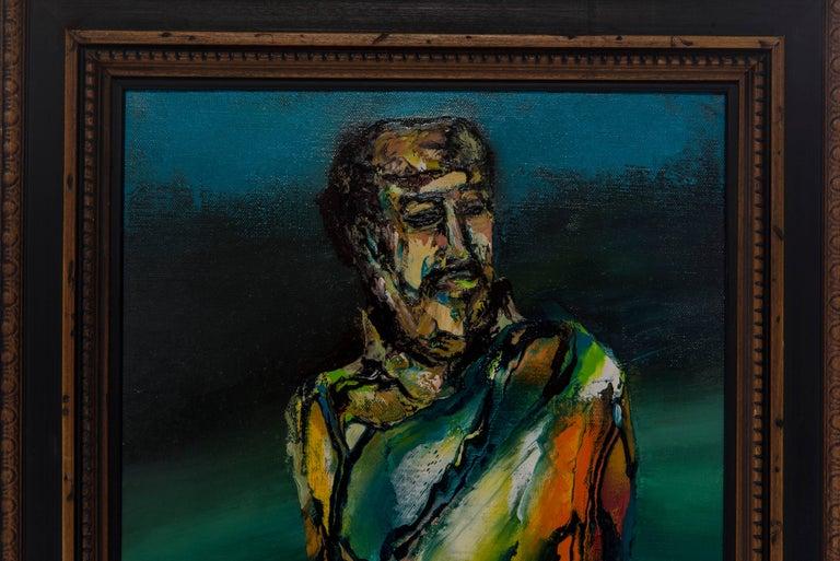 A vintage figurative oil painting signed J. Flores.