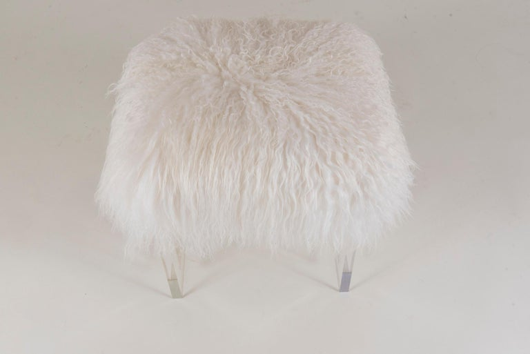 American Icelandic Sheepskin Lucite Bench For Sale