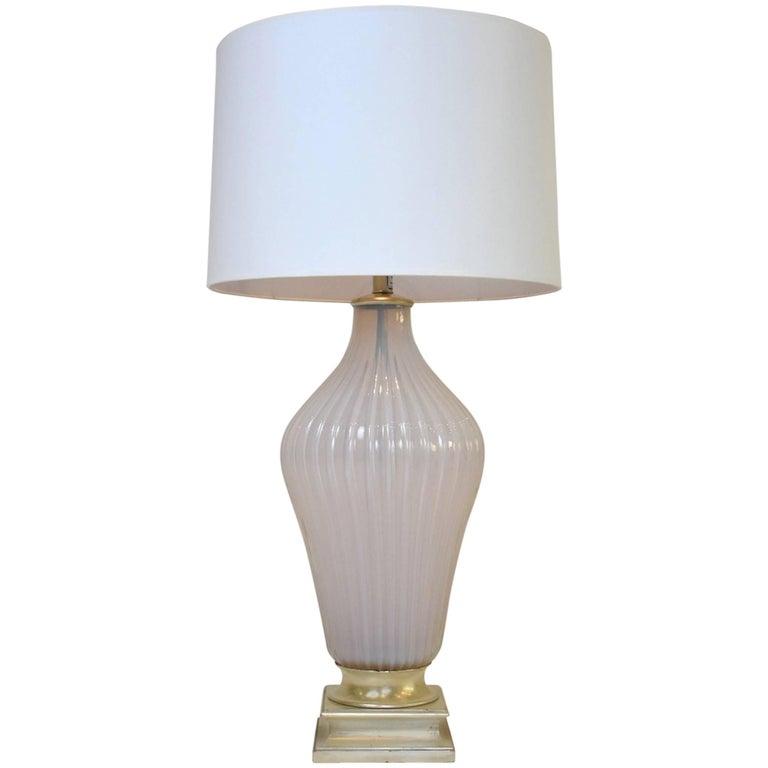 Vintage Mabro Murano Pink White Opaline Glass Lamp