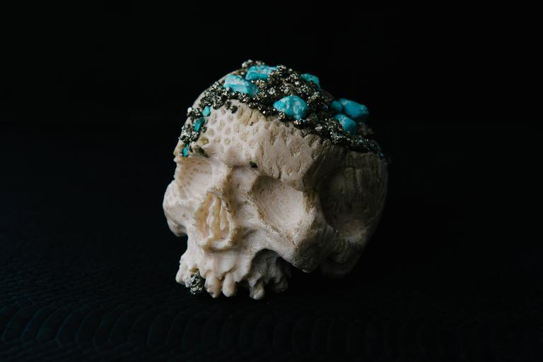 Momento Mori Carved Natural Coral Skull with Pyrite and Turquoise For Sale 3