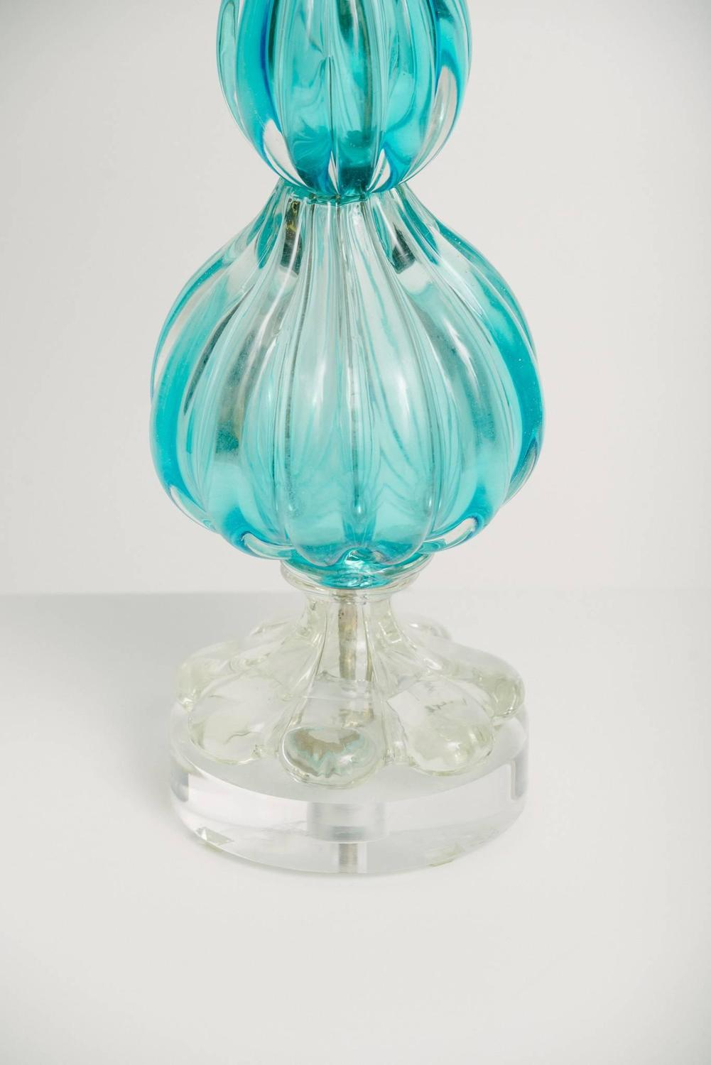 Vintage Blue Murano Glass Lamp On Lucite Base For Sale At