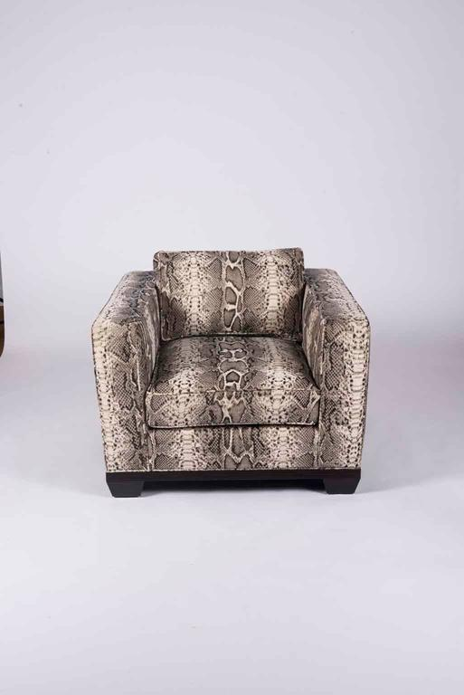 A vintage pair of boxy Baker club chairs newly upholstered in Kravet Couture