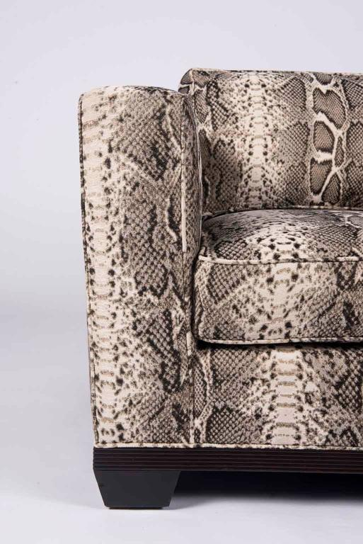 Pair of Python Baker Club Chairs In Excellent Condition For Sale In Houston, TX
