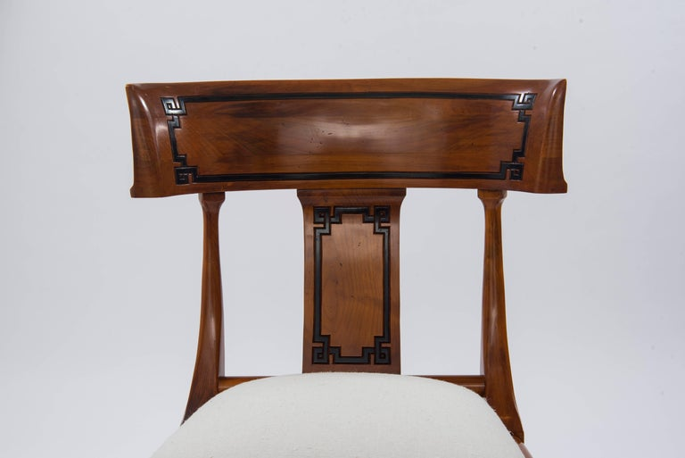 Carved Set of Four Empire Style Cherry Wood Klismos Chair For Sale