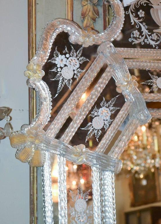 Italian Sensational Antique Venetian Etched Glass Mirror For Sale