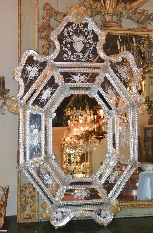 Sensational Antique Venetian Etched Glass Mirror In Good Condition For Sale In Dallas, TX