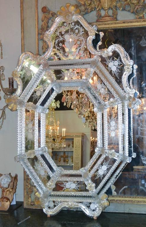 Blown Glass Sensational Antique Venetian Etched Glass Mirror For Sale