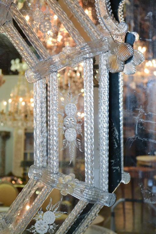 Sensational Antique Venetian Etched Glass Mirror For Sale 1