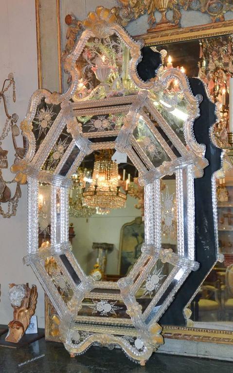 Sensational Antique Venetian Etched Glass Mirror For Sale 2