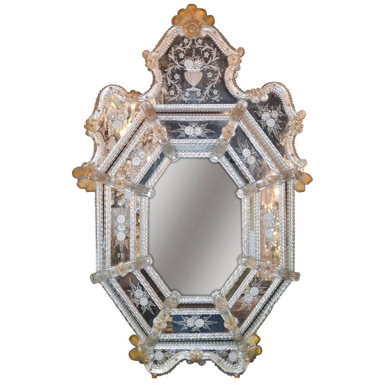 Sensational Antique Venetian Etched Glass Mirror For Sale