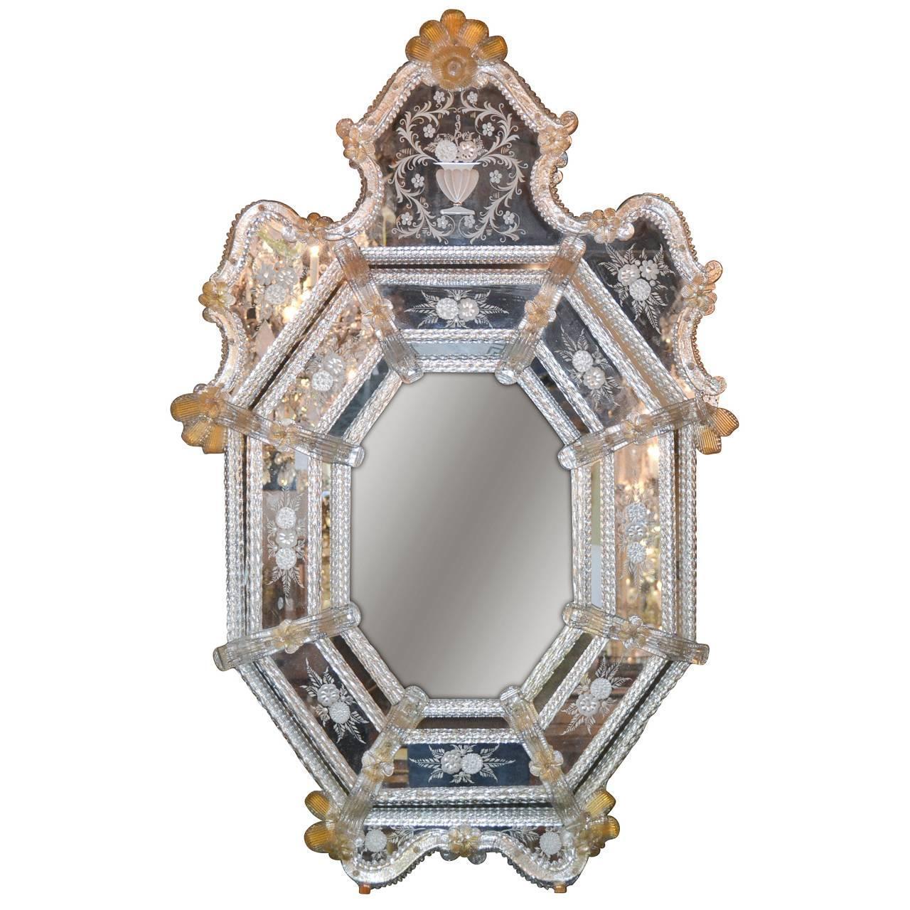 sensational antique venetian etched glass mirror for sale at 1stdibs. Black Bedroom Furniture Sets. Home Design Ideas