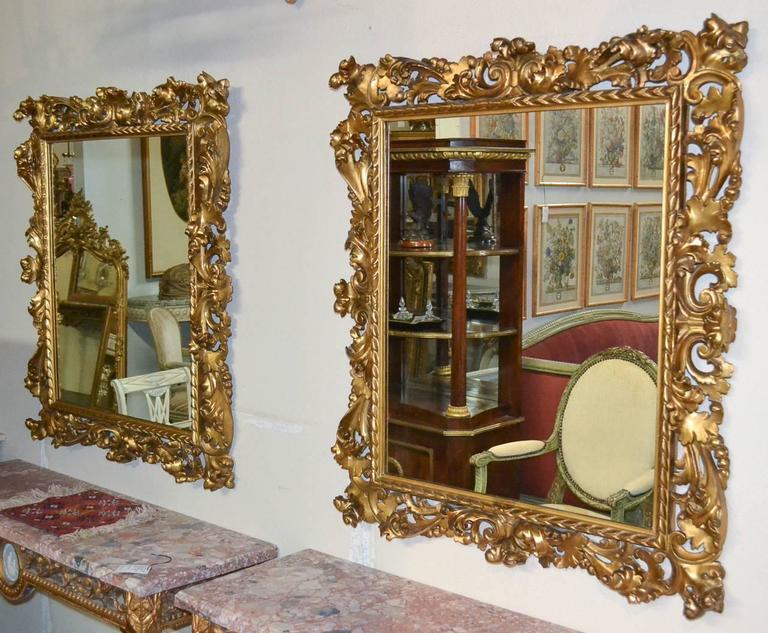 Superb 19th Century Pair of Italian Florentine Mirrors For Sale 3