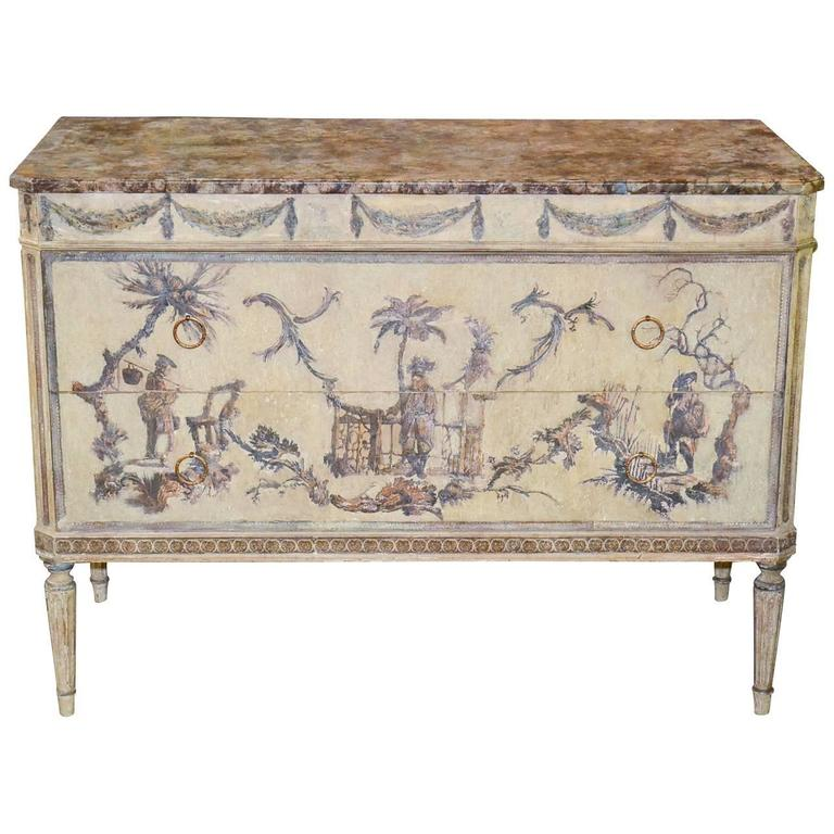 Italian Louis XVI Painted and Decoupage Commode