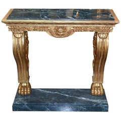 Continental Giltwood and Marble Console