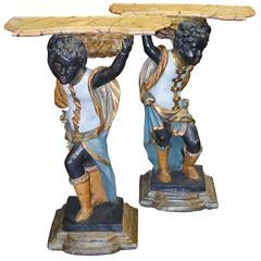 19th Century Pair of Italian Carved Blackamoors