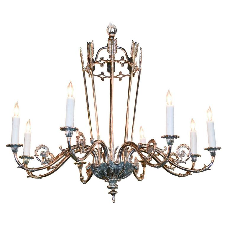 French Silvered Directoire Chandelier