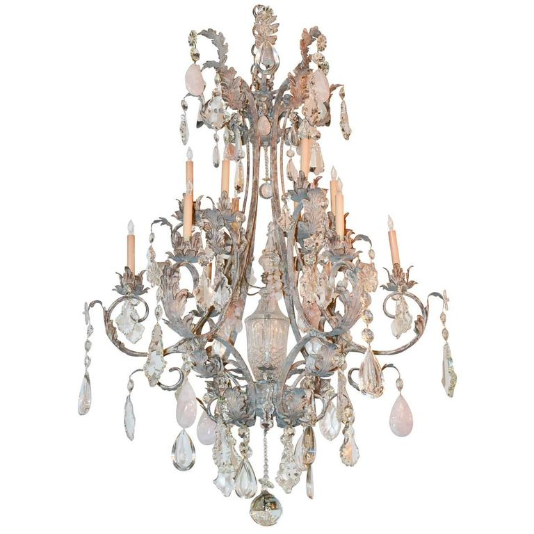 Custom Iron and Rock Crystal Chandelier