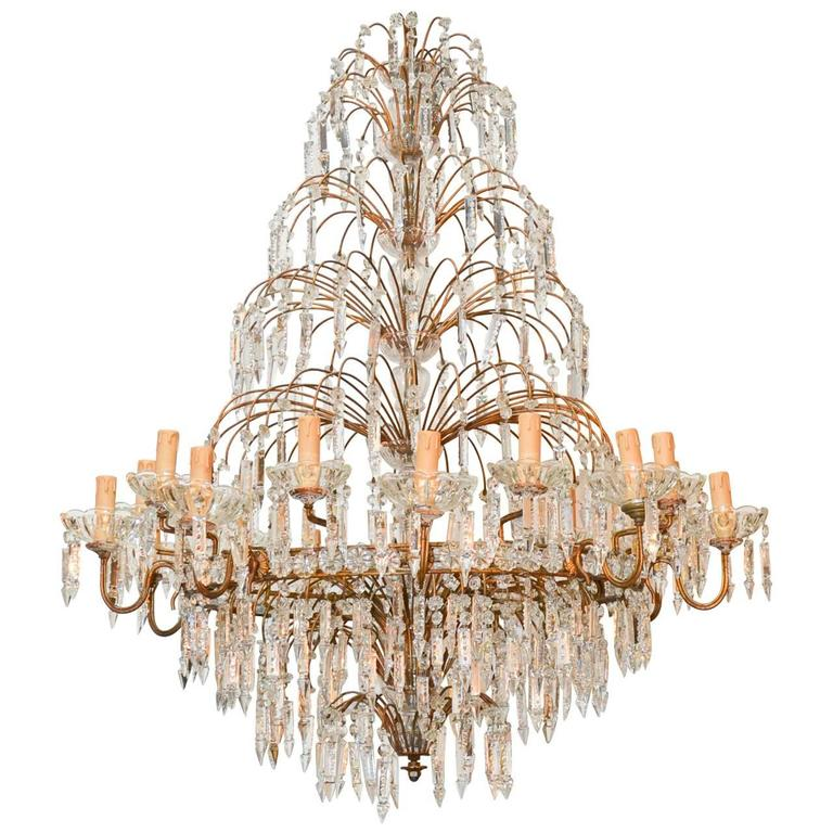 Superb French Crystal Waterfall Chandelier