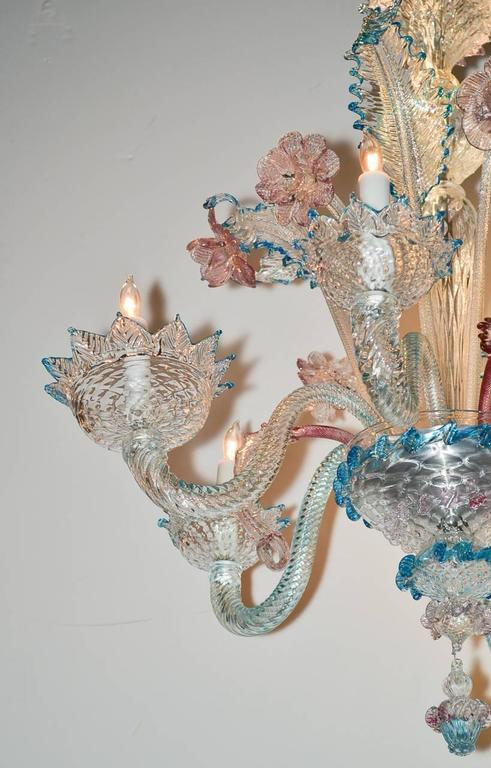 Lovely Antique Blue and Pink Murano Glass Chandelier 3