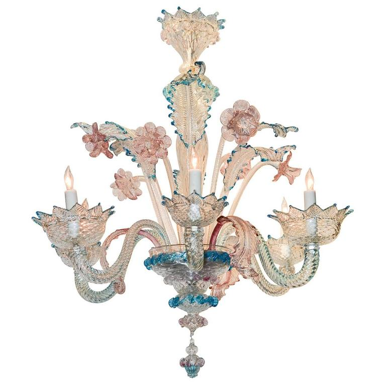Lovely Antique Blue and Pink Murano Glass Chandelier For Sale - Lovely Antique Blue And Pink Murano Glass Chandelier At 1stdibs