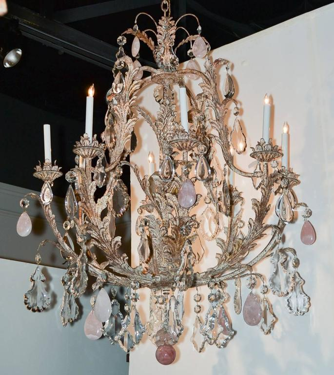 CustomMade Crystal And Rose Quartz Chandelier For Sale At Stdibs - Quartz chandelier crystals