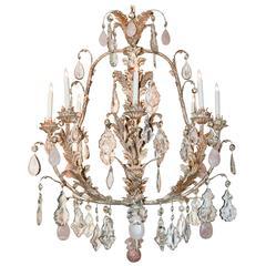 Custom-Made Crystal and Rose Quartz Chandelier