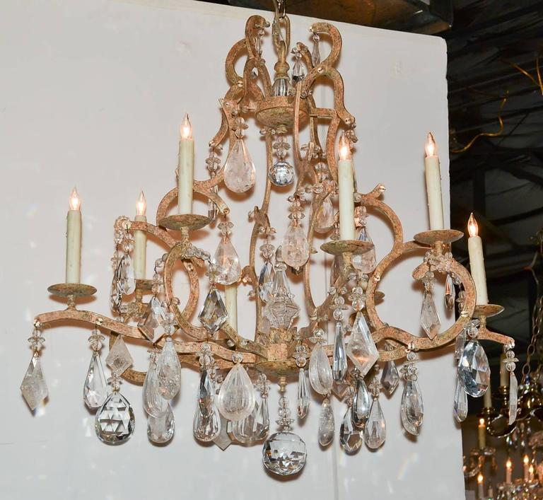Excellent Custom Iron And Rock Crystal Chandelier For Sale