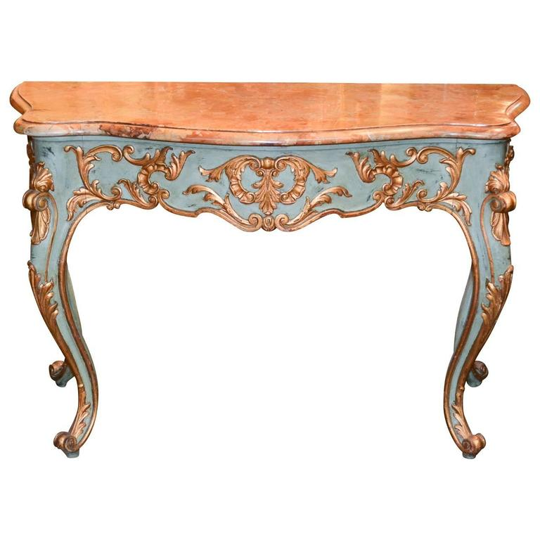 19th Century French Louis XVI Parcel-Gilt Console