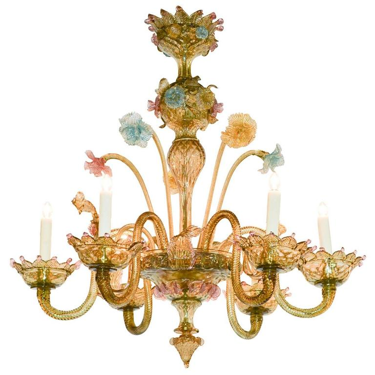 Great Venetian Multicolored Glass Chandelier