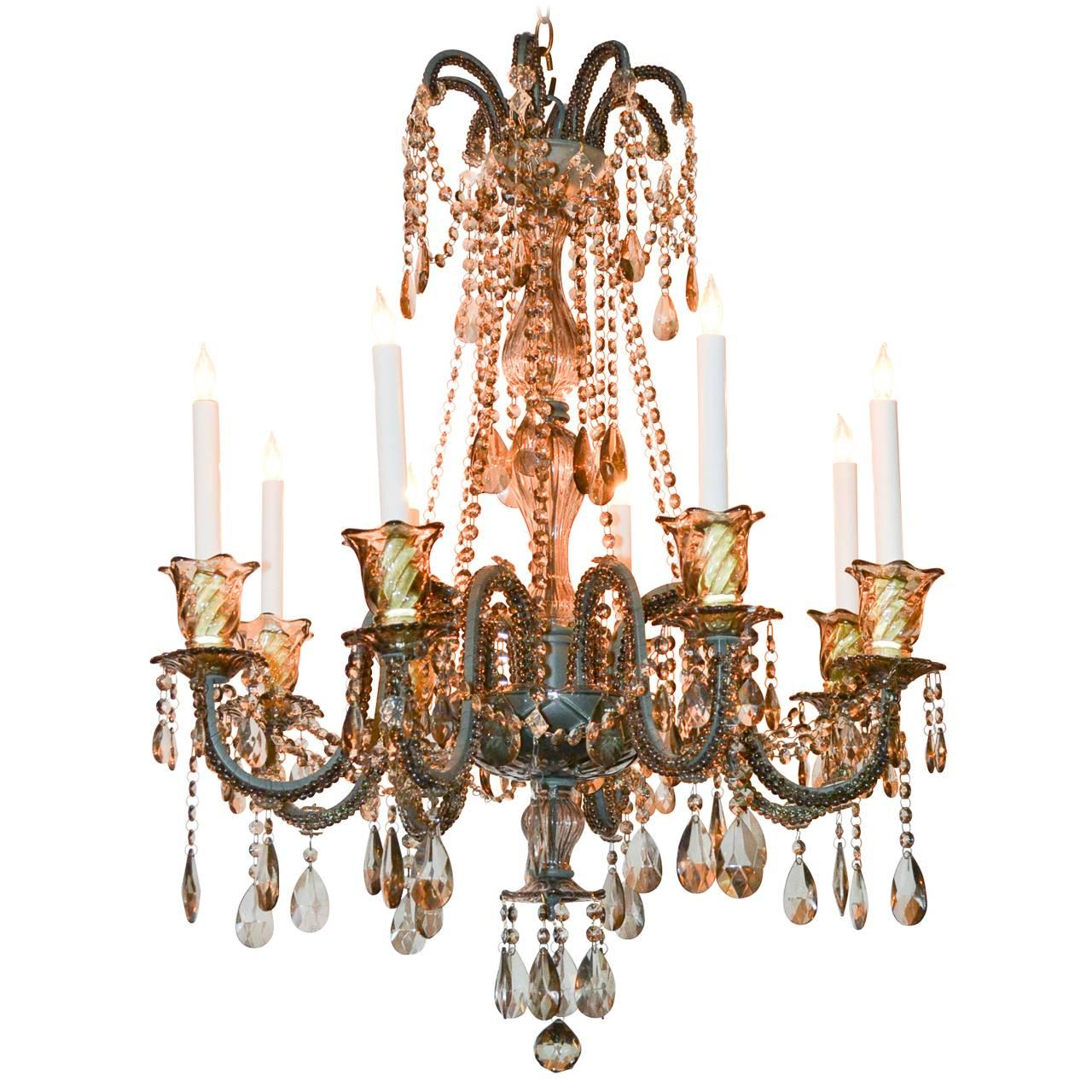 Crystal Chandelier With Large Black Shade & Crystal Balls H24 x W15