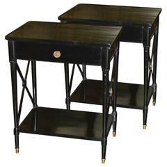 Pair of Black Lacquered French Side Tables