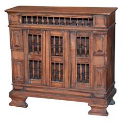 Italian Hand-Carved Petite Walnut Table Cabinet, circa 1840