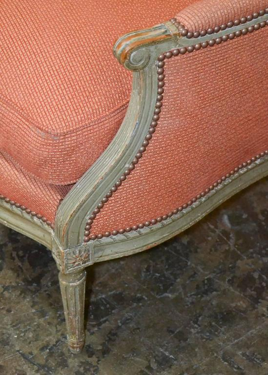 19th Century Pair of French Louis XVI Bergeres In Good Condition In Dallas, TX