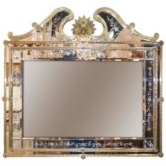 Venetian Amber Glass Etched Mirror