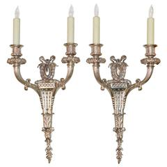 Good Pair of French Classical Silver over Bronze Two-Light Sconces