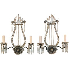 French Lyre Form Pair of Two-Light Sconces, circa 1910