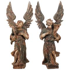 18th Century Pair of Italian Carved Angel Candlesticks