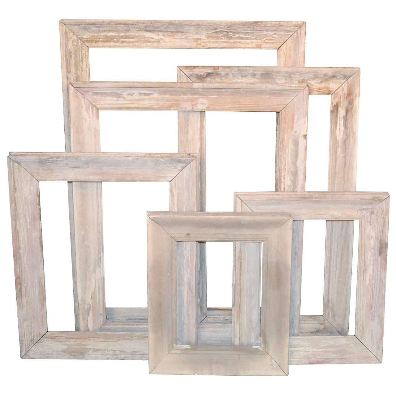 Set of Six Antique Whitewashed French Frames at 1stdibs