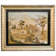 Antique Fine Gilt Framed French Silk Embroidery