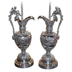 French Pair of 19th Century Silver Chrome Ewers Mounted as Lamps
