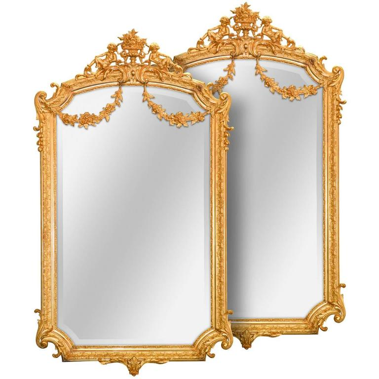 Radiant Pair of French Louis XV Style Mirrors